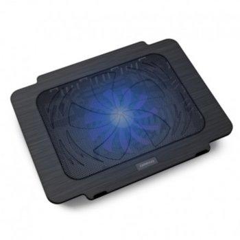 """Охлаждаща поставка за лаптоп Breeze 5475756, за лаптопи до 15.6"""" (39.62cm), 1 вентилатор, USB, LED, черна image"""