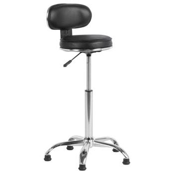 Бар стол Carmen 3087, до 100kg, еко кожа, хромирана база, газов амортисьор, коригиране на височината, черен image