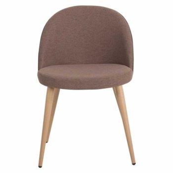 Трапезен стол Carmen 514, метални крака, дървесно кафяв image