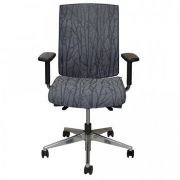 Работен стол Sydney Forest, лумбална опора, дамаска, черен image