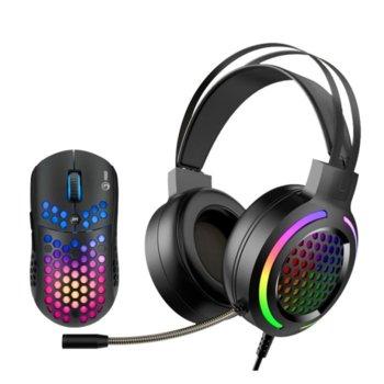 Комплект мишка и слушалки Marvo MH01, гейминг, оптична (6400 dpi), USB, черни image
