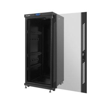 """Комуникационен шкаф Lanberg FF02-6627L-12B, 19"""", 27U, 600 x 600 x 1463.2, стъклена врата, LCD дисплей, черен image"""