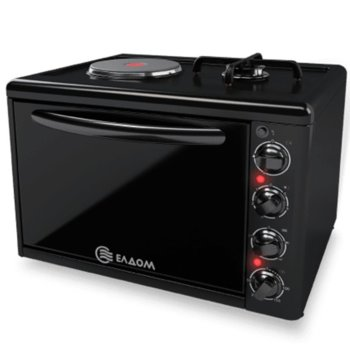 Готварска печка мини Елдом 213VFEN-NEW, клас А, 38л. обем на фурната, емайлиран работен плот, вградено осветление на фурната, eдна газова горелка 3400 W, черна image