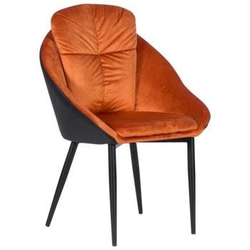 Трапезен стол Carmen VOLSK, до 100кг. макс. тегло, дамаска/еко кожа, метална база, оранжев image