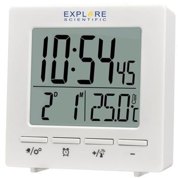 "Часовник/будилник Explore Scientific 75894, цифров термометър, часовник, будилник, аларма с функция ""повторение"", бяла LCD подсветка, бял image"