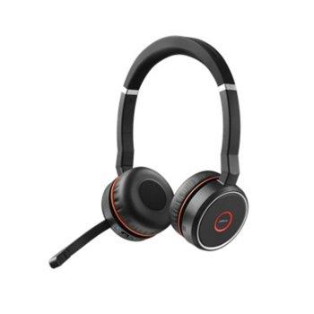 Слушалки Jabra Evolve 75 MS Duo, безжични, микрофон, Bluetooth/USB, черни image