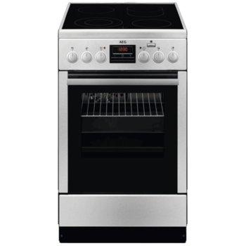 Готварска печка AEG CCB56400BX, клас А, 58 л., 4 котлона, обем, пуш-пул въртящи се бутони, инокс image