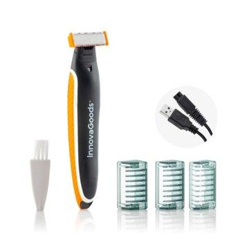 Сaмобръснaчкa InnovaGoods TRMR-V0101049 3в1, бръснене/оформяне/подкъсяване, безжична, 3 накрайника, USB, черна image