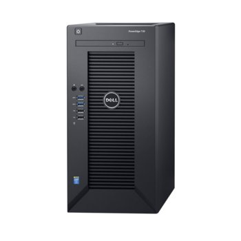 Сървър Dell PowerEdge T30 (PET3002), четиридрен Intel Xeon E3-1225 v5 3.3/3.7GHz, 8GB DDR4 UDIMM, 1TB 7200rpm HDD, 1x 1Gb LAN ports, без OS image