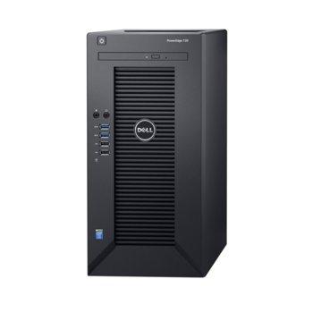 Сървър Dell PowerEdge T30 (PET3002), четиридрен Intel Xeon E3-1225 v5 3.3/3.7GHz, 8GB DDR4 UDIMM, 1TB 7200rpm HDD, 1x 1Gb LAN ports, без OS image