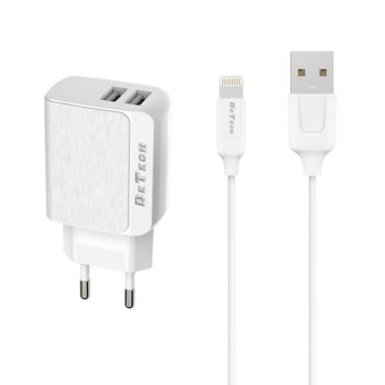 Зарядно устройствo DeTech DE-09, от шуко към 2х USB, 5V/2.4A, Бял, с Lightning кабел 1.0m image