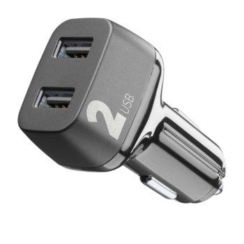 Зарядно устройство за кола Cellularline Multipower 2, от автомобилна запалка към 2x USB, 5/12W, черно image