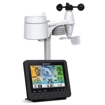 Електронна метеостанция Bresser Wi-Fi 5-в-1, професионален външен датчик, измерва скороста и посоката на вятъра, цветен дисплей, черна image