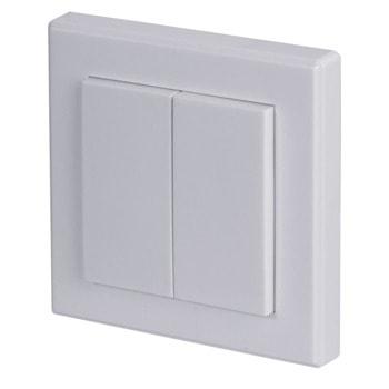Превключвател Hama 121958, за стена, включване/изключване на таванното осветление, безжичен, 2 програмируеми канала за 2 единични радиоприемника или 2 групи радиоприемници, до 10m обхват, бял image