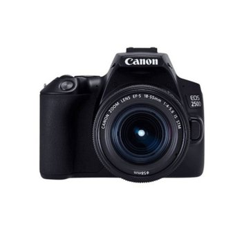 "Фотоапарат Canon EOS 250D (черен) в комплект с обективи Canon EF-S 18-55mm f/3.5-5.6 IS и EF-S 10-18mm f/4.5-5.6 IS STM, 24.2 Mpix, 3,0"" (7.62 cm) сензорен TFT дисплей, Bluetooth, Wi-Fi, SD/SDHC/SDXC слот, USB, HDMI mini image"