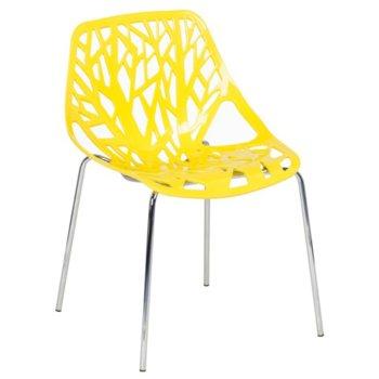Трапезен стол Carmen 9911, пластмаса и хромирана основа и крака, жълт image