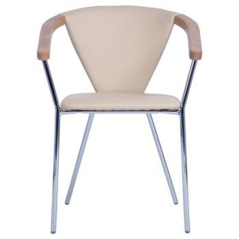 Трапезен стол Carmen Tania, еко кожа, материал хром, подлакътници, бежов image