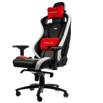 Геймърски стол noblechairs EPIC, естествена кожа, черен/бял/червен  image