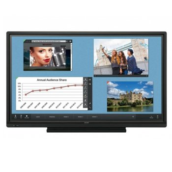 "Интерактивен дисплей Sharp PN70TW3A, 70"" (177.8 cm), Full HD touchscreen дисплей, LAN, VGA, HDMI, DisplayPort, USB, RS232 image"