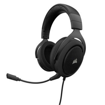 Слушалки Corsair HS50, микрофон, , контрол на звука, AUX, черни  image