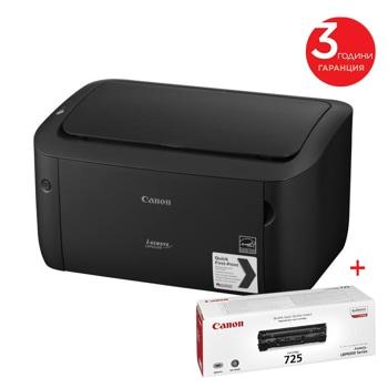 Лазерен принтер Canon i-SENSYS LBP6030B в комплект с тонер CRG-725, монохромен, 2400x600 dpi, 18 стр/мин, USB, A4 image