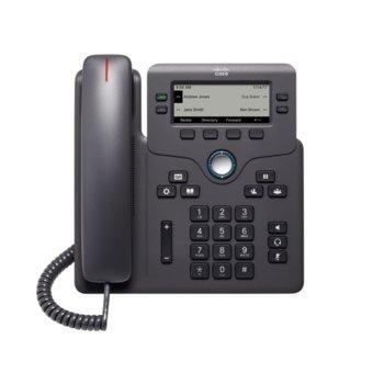 """VoIP телефон Cisco 6851, 3.5"""" (8.89 cm) LCD дисплей, 6 линии, 2x 10/100/1000Base-T, PoE, сив image"""