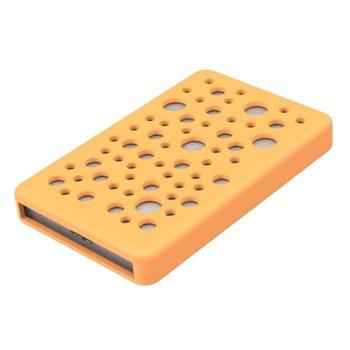 """Кутия 2.5"""" (6.35 cm) Orico 2789U3 за 2.5"""" (6.35 cm) HDD/SSD, SATA 6Gb/s, USB 3.0 Micro B, сребриста със силиконов протектор в оранжев цвят image"""