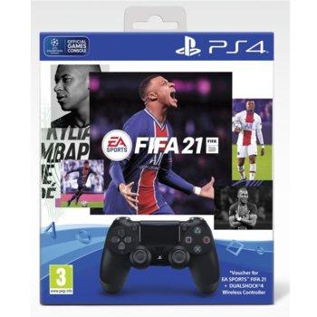 Геймпад PlayStation DualShock 4 V2 - Black, безжичен, за PS4, черен, в комплект с игра FIFA 21 image