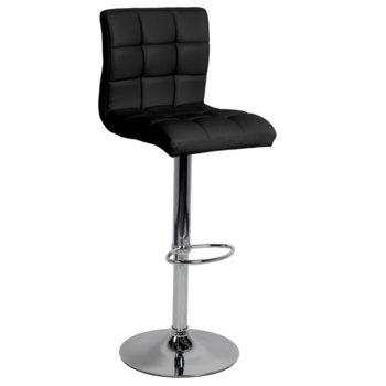 Бар стол Carmen 3063, еко кожа, хромирана база, газов амортисьор, коригиране на височина, черен image