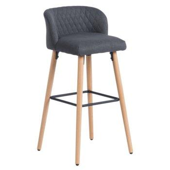 Бар стол Carmen 3084, дамаска, дървена база, графит image