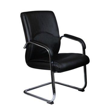 Посетителски стол Carmen 6040, еко кожа, подлакътници, черен image