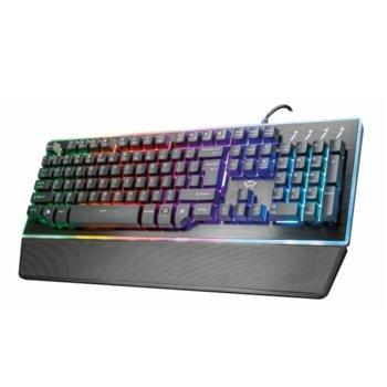 Клавиатура Trust GXT 860 Thura, гейминг, хибридна, подсветка, черна, USB image