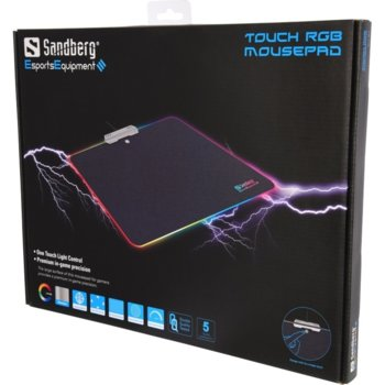 Подложка за мишка Sandberg, програмируема подсветка, алуминиева основа, USB, черна, 340x245x2.5mm image