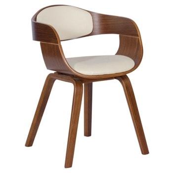 Трапезен стол Carmen 9974, до 120кг. макс. тегло, орех, еко кожа/дърво, дървена база, крем image