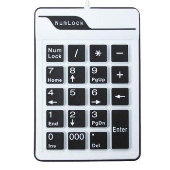 Клавиатура NumPad- 6102,Жична, Силикон, USB, Бял  image