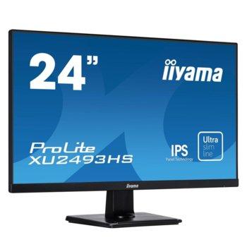 "Монитор Iiyama PROLITE XU2493HS-B1, 23.8"" (60.45 cm) IPS панел, Full HD, 4ms, 5 000 000:1, 250 cd/m2, Display Port, HDMI, VGA image"