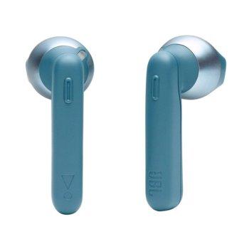Слушалки JBL T220TWS, безжични (Bluetooth 5.0), микрофон, JBL Pure Bass, 3 часа време за работа, сини image