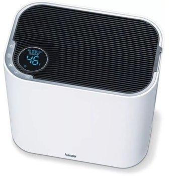 Пречиствател и овлажнител на въздух Beurer LR 330 с подарък филтър Beurer LR 330 replacement set, автоматично изключване, таймер, нощен режим, 4.6 л. вместимост, за помещения до 30 m², бял/сребрист image
