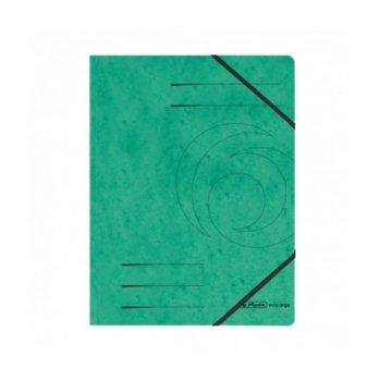 Папка Herlitz Easy Orga, за документи, изработена от картон, с три капака и ластик, размер 250х340мм, зелена image