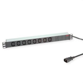 """Разклонител Roline 19.07.1629, 19"""", 8x IEC-320-C13, 2м, IEC-320-C14 конектор, черен image"""