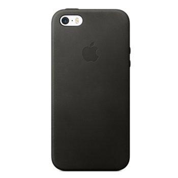 Калъф за Apple iPhone 5/5S, страничен протектор с гръб, еко кожа, Apple iPhone Leather, черен image
