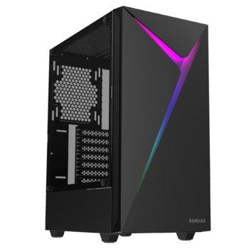 Кутия Gamdias ARGUS E4, ATX/Micro ATX/Mini-ITX, 1x USB 3.l0, 2x 3.5mm жак, прозорец, черна, RGB подсветка, без захранване image