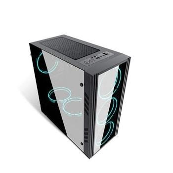 Кутия Inaza Black Ship, m-ATX/mini-ITX, 1x USB 3.0, прозорец, черна, без захранване image
