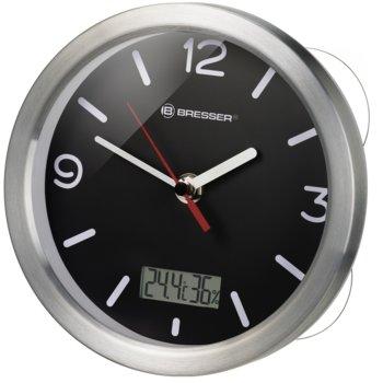Часовник Bresser MyTime Bath 74611, механичен/цифров, часовник/влагомер/термометър, cтенен, непромокаем, сребристо-черен image