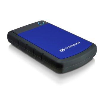 """Твърд диск 1TB Transcend StoreJet 25H3, син, 2.5"""" (6.35cm), външен, USB 3.0, удароустойчив image"""