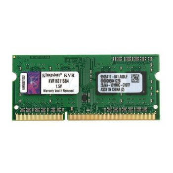 Памет 4GB DDR3 1600 MHz, SODIMM ,Kingston, Non-ECC, CL11, 1.5V, Unbuffered image
