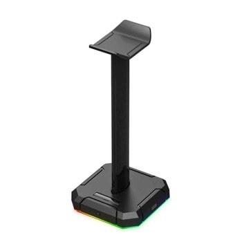 Поставка за слушалки Redragon HA300-BK, RGB подсветка, USB порт, черна image