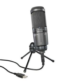 Микрофон Audio-Technica AT2020USB+, професионален кондензаторен кардиоиден, 20-20kHz, USB image