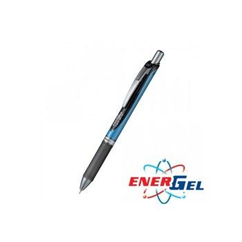 Автоматичен ролер Pentel Energel BLN75, черен цвят на писане, дебелина на линията 0.5 mm, гел, син, цената е за 1бр. (продава се в опаковка от 12бр.) image