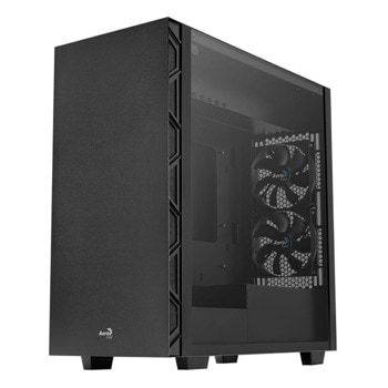 Кутия AeroCool Flo (FLO-G-BK-V1), ATX/Micro ATX/Mini-ITX, 2x USB 3.0, 2x USB 2.0, прозорец, черна, без захранване image